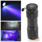 Portable Mini 9 LED Aluminium UV Ultra Violet torch Flashlight purple light AAA Lamps Black BC148