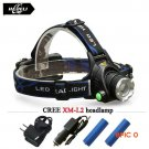 Powerful CREE XML T6 headlights XM-L L2 headlamp Zoom waterproof 18650 rechargeable batter