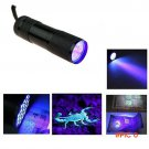 PromethFire UV Flashlight Black Mini Aluminum Portable UV Ultra Violet Blacklight 9 LED uv
