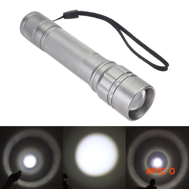 CREE Q5 LED Flashlight 2000LM Zoomable 3-mode Torch Adjustable Focus Lamp Light 1 x 18650
