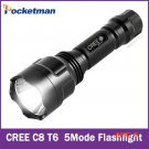Super Bright C8 Cree XM-L T6 5-Mode 2400LM Camping Led Flashlight Torch Light Lamp  for 1*