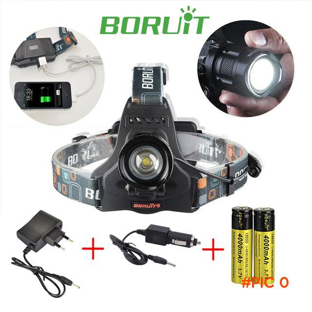 BORUIT RJ-2157 Cree XM-L2 LED Rechargeable Zoomable Flashlight Head Light 1200 Lumens Head