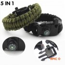 Compass Bracelet 5 in 1 Survival Flint Fire Starter Paracord Whistle Gear Buckle Camping I