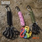2016 New Outdoor Camping Tool  , Paracord Rescue KeyRing with 5PCS Carabiner Clip buckle K