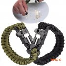 4 in 1 Flint Fire Starter Whistle Equipment Paracord Rescue Rope Escape Bracelet Outdoor C