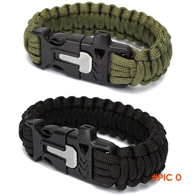 Outdoor Sports Men's Survival Paracord Bracelets Parachute Cord Wristband Emergency Ro