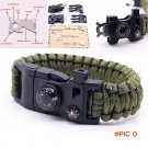 15 in 1 Multifuctional Outdoor Paracord Survival Bracelets Parachute Rope Whistle Compass