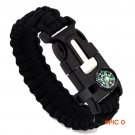 High Quality  5 in 1 Outdoor rope Paracord Survival gear escape Bracelet Flint/Whistle/Com