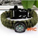 2016 Army Green Color Camping Compass Parachute Cord Plastic Buckle Bracelets Survival Whi
