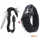 Flintstones straps bracelet Multifunction Tool 5 in 1 Climbing Carabiner Survival Camping