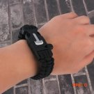 Black Outdoor Survival Bracelet Outdoor Scraper Whistle Fire Starter Gear free shippping BC290
