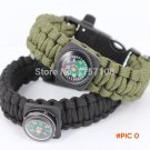New fashion military braided compass survival paracord bracelets with fire starter buckle