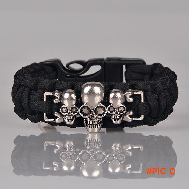 Punk Skull Paracord Bracelet Men Jewelry Braided Survival Bracelets Fashion Male Accessori