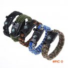 Survival Paracord Bracelet Parachute Rope Cord With Whistle Buckle Compass Flint Fire Star