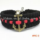 New ParaCord Survival Bracelet Weave Handmade 7-Stand Stainless Steel Shackle Buckle Outdo