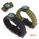 New Outdoor 9 Inches Paracord Survival Bracelet Rope WhistleKits With Compass Flint Fire S