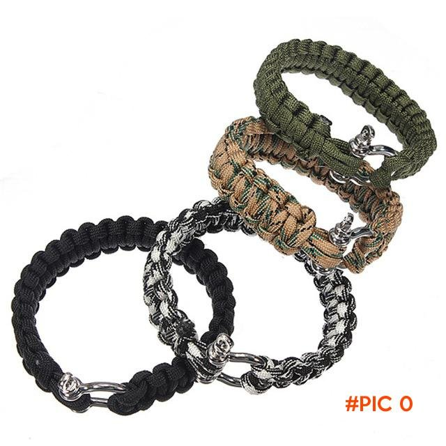 Adjustable Self-rescue Paracord 550 Survival Bracelet 7 Strand Handmade Weave Parachute Sh
