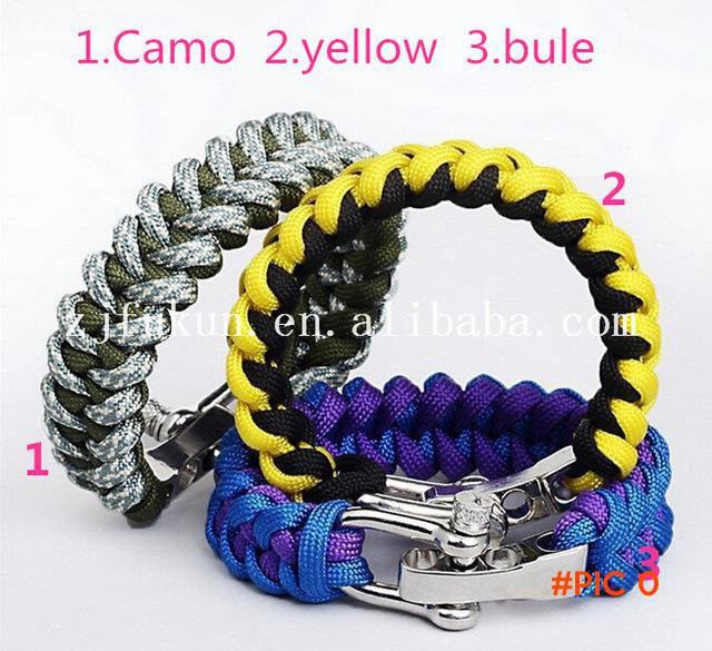 New Style Survival Parachute Cord Bracelets & Bangles Outdoor Emergency Paracord Army