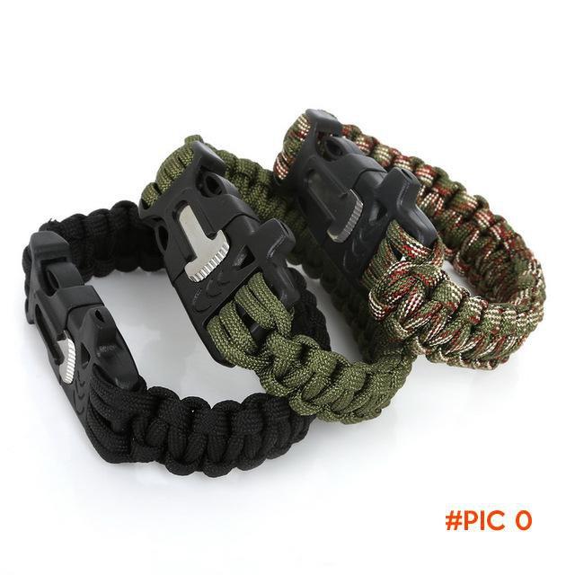 2016 New Sale 25cm Camping Survival Paracord Bracelet Outdoor Scraper Whistle Flint Fire S
