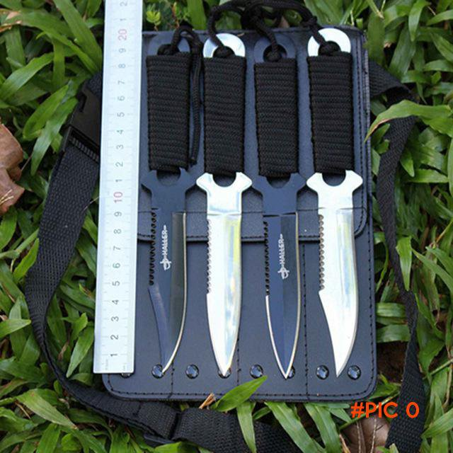 HOT 1 set/4PCS Diving Knife Stainless Steel Leggings Knife With Nylon/Leather Sheath outd