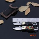 Small Buckle Pocket Tactical Knife Wood Handle Survival Folding Knife EDC Hunting Knives N