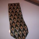 Bosa Men's Green Golden Tan  White Zig Zag Lines Silk Tie Necktie