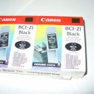 Canon BC-21 Black Ink Cartridge BCI-21 New Genuine For BJC-4000 5000 Twin Pack