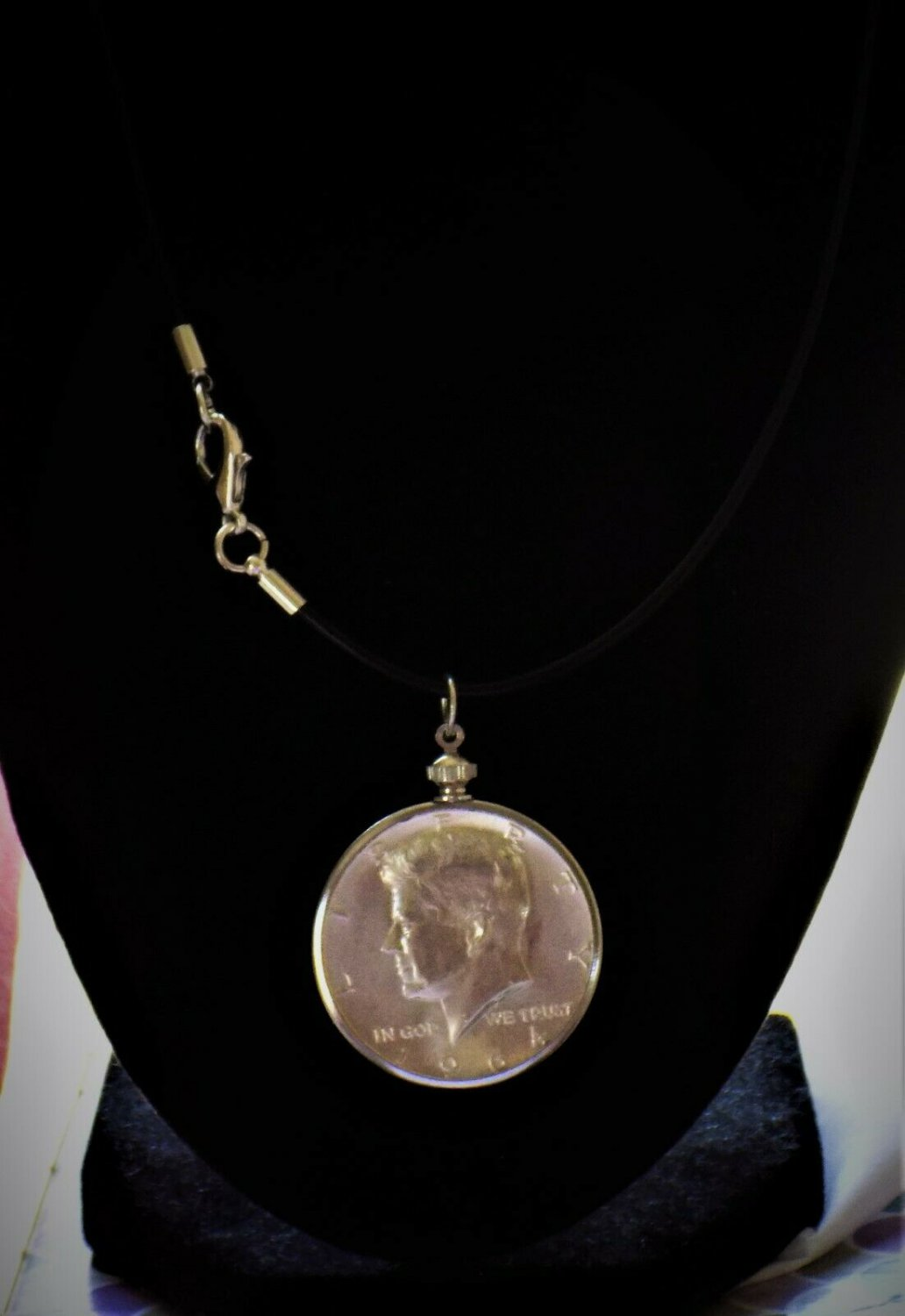 """John F. Kennedy Half Dollar VINTAGE 90% Silver Coin Pendant  with 18"""" Necklace"""