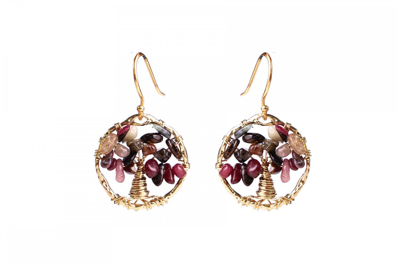 Agate tree of life earrings