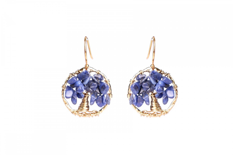Blue Agate Tree Of Life Earrings