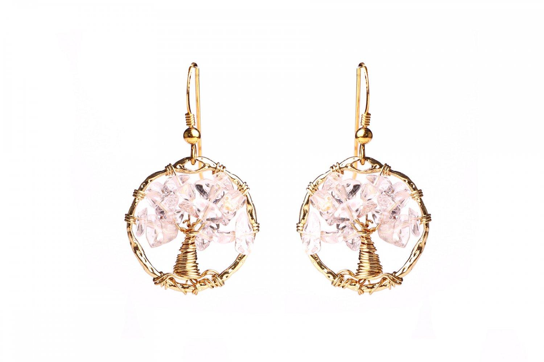 Love quartz tree of life earrings