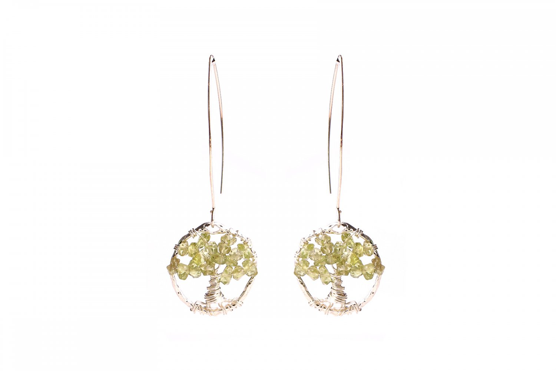 Light green agate tree of life earrings