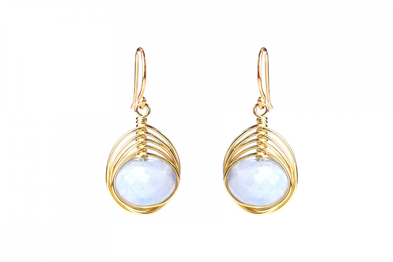 Light Blue Faceted Agate Wire Wrapped Earrings