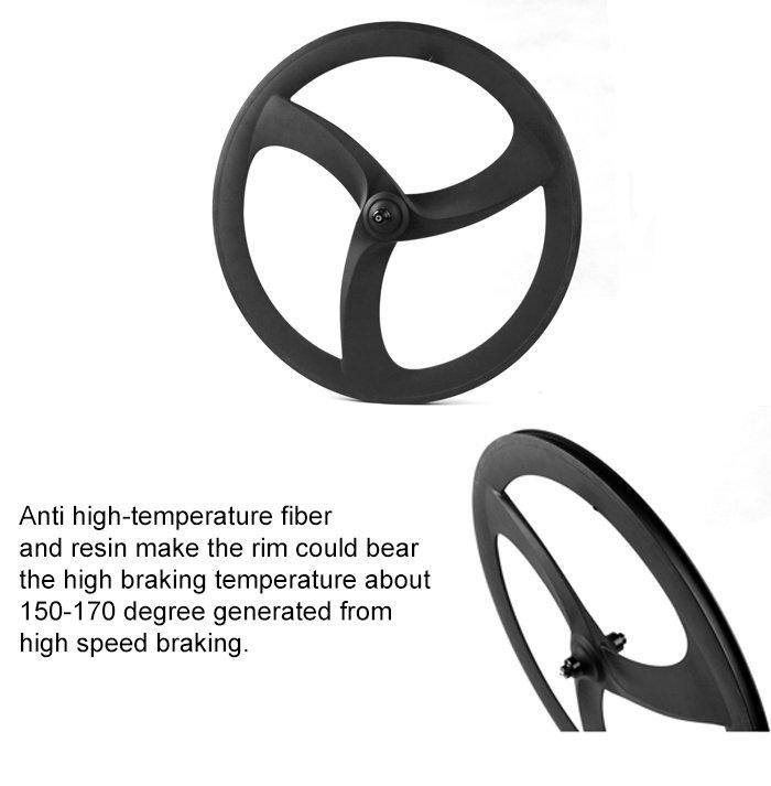 Cool clincher/tubular carbon tri spoke wheels aero 3 spoke road/trac front wheel