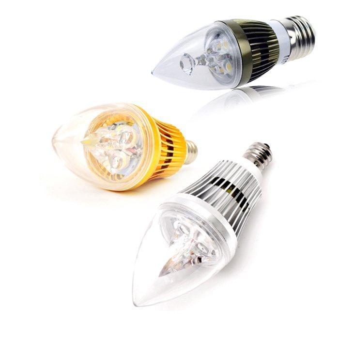 6/8/10W E12 E14 E27 Dimmable Sharp LED Chandelier Candle Light Bulb AC 110/220V