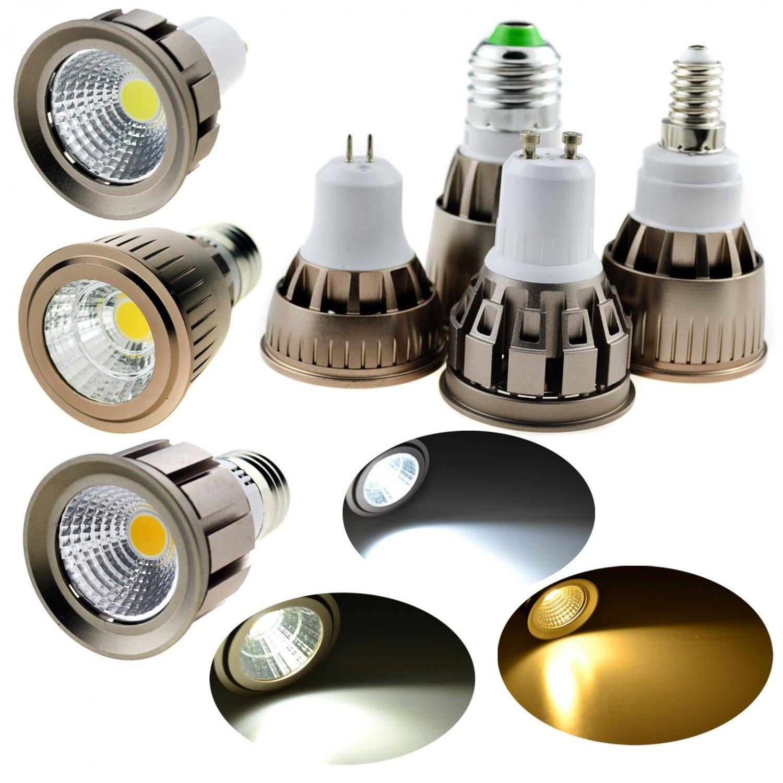 LED Spotlight E26 E27 E14 GU10 GU5.3 Dimmable 6W 9W 12W Bulb COB SMD Lamp Bright