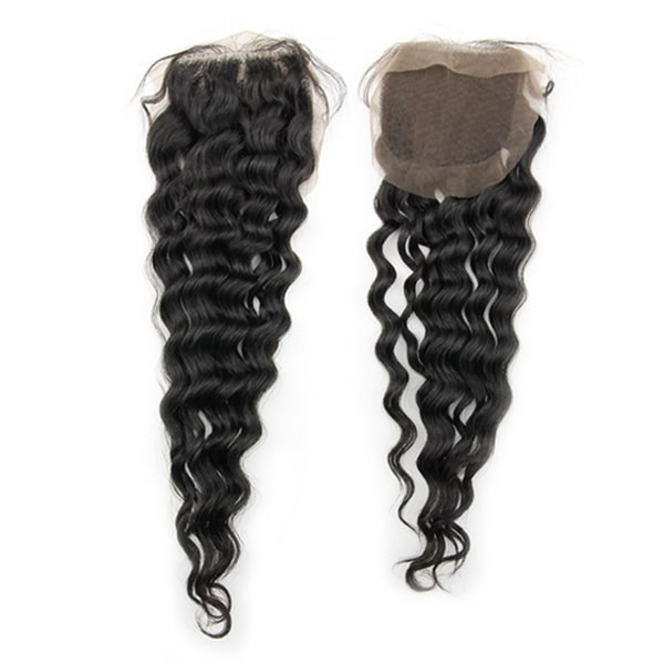 18 Inches Human Hair natural Color  Deep Wave Lace Top Closure