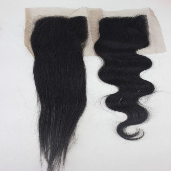 8 Inches Human Hair Natural Black Body wave 4x4 inches Lace Closure