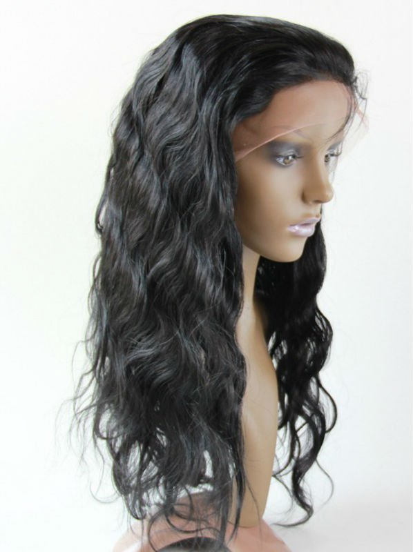 130% Density 18 Inches Human Hair Natural Color Body Wave Full Lace Wigs with combs