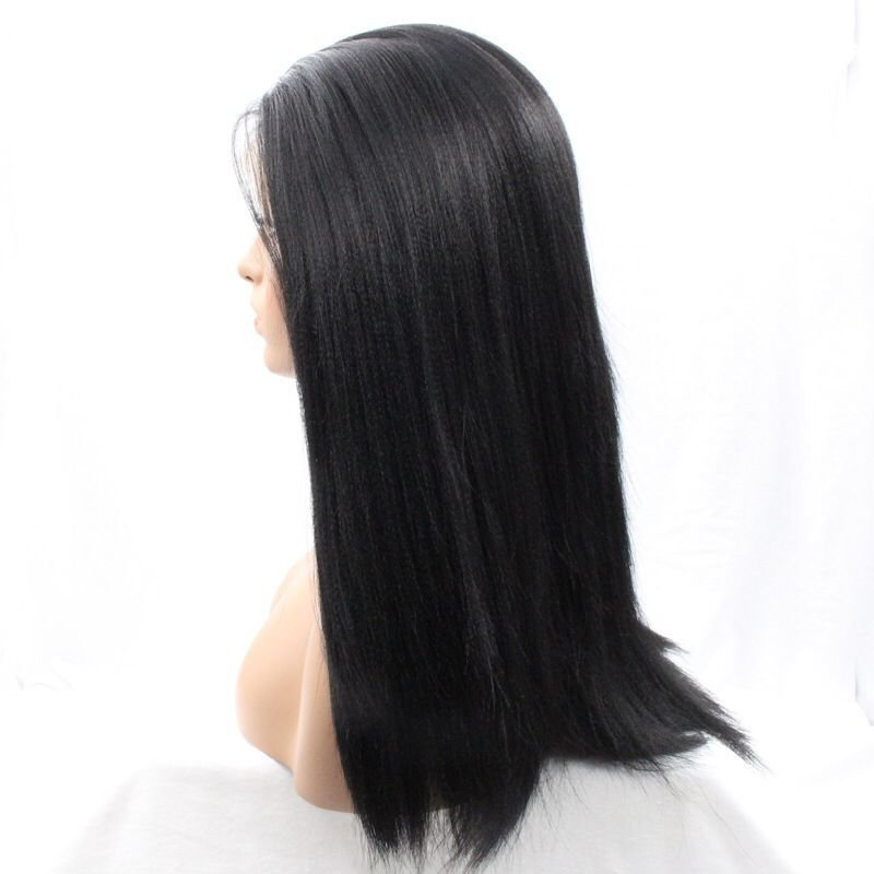 Silky Straight Handmade Synthetic Lace Front Wigs Natural Black color for women