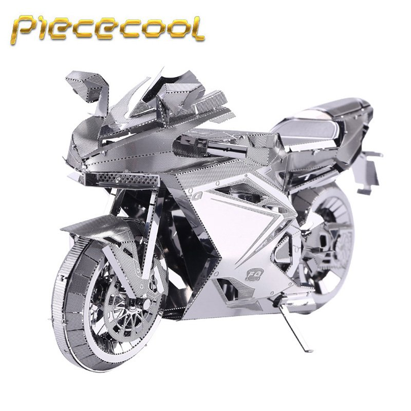 Piececool 3D Metal Puzzle Motorcycle II Building Kits P057S DIY 3D Laser Cut Models Toys