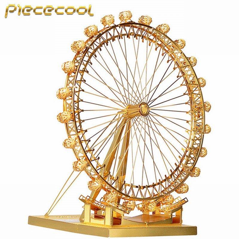 Piececool 3D Metal Puzzle London Eye Ferris Wheel Building Kits P043G DIY 3D Laser Cut Models Toys