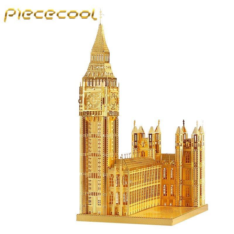 Piececool 3D Metal Puzzle Big Ben Building Kits P018G DIY 3D Laser Cut Models Toys - Gold