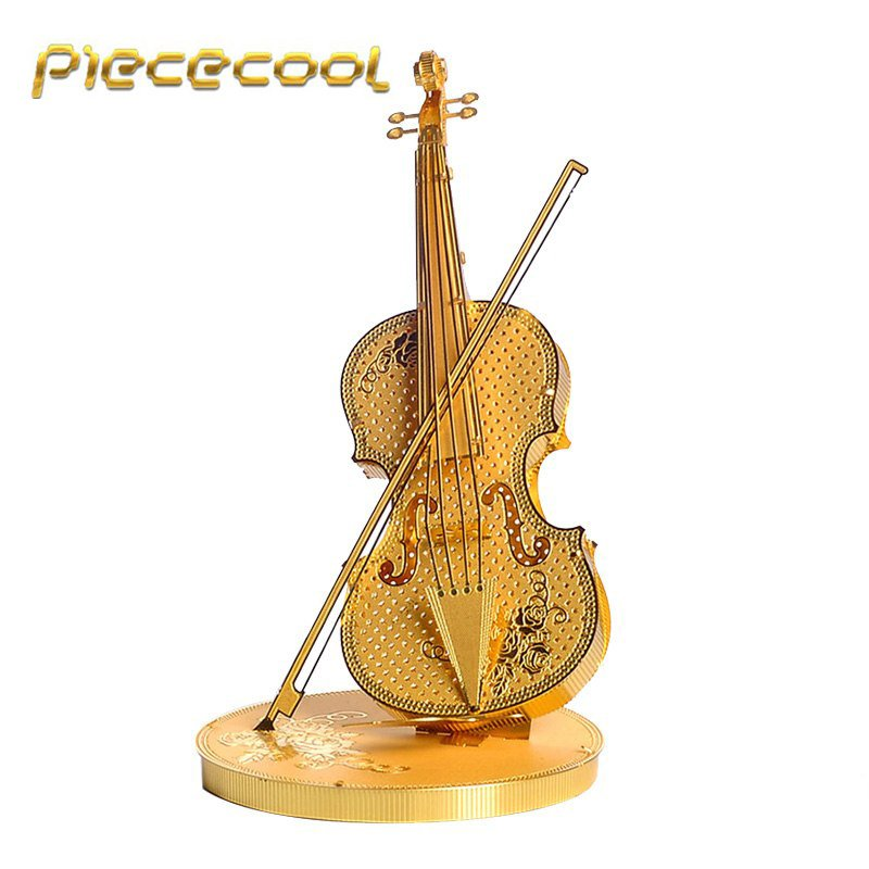 Piececool 3D Metal Puzzle Violin Musical Instruments Building P023G DIY 3D Laser Cut Models Toys