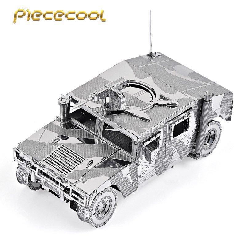 Piececool 3D Metal Puzzle 4WD Military Automobile US Hummer P036S DIY 3D Laser Cut Models Toys
