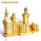 Piececool 3D Metal Puzzle Neuschwanstein Castle Building P013G DIY 3D Laser Cut Models Toys - Gold