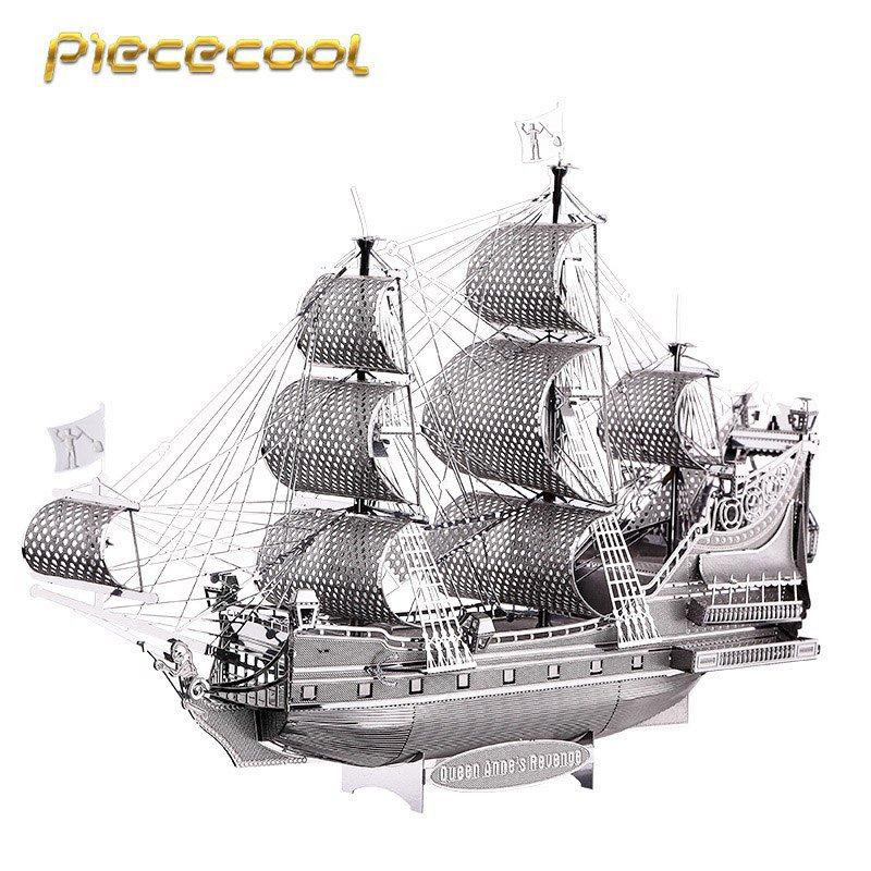 Piececool 3D Metal Puzzle Queen Anne's Revenge Boat P038S DIY 3D Laser Cut Models Toys For Audit