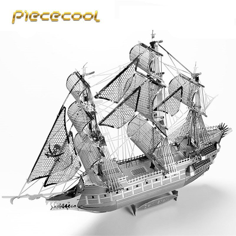 Piececool 3D Metal Puzzle The Flying Dutchwan Boat P040S DIY 3D Laser Cut Models Toys For Audit