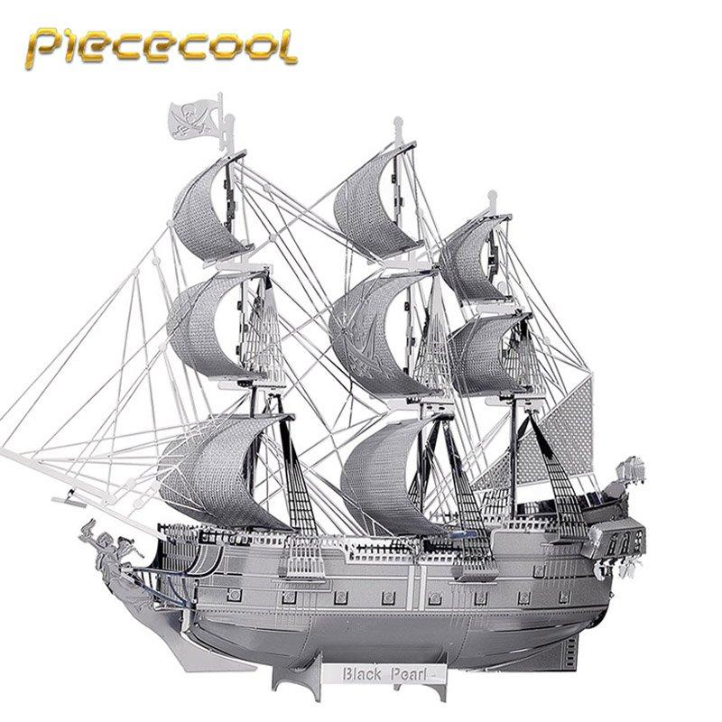 Piececool 3D Metal Puzzle Black Pearl Pirate Boat P044S DIY 3D Laser Cut Models Toys For Audit