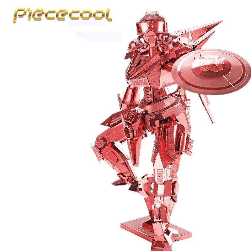 Piececool 3D Metal Puzzle Shield Man Robots Building Kits P068R DIY 3D Laser Cut Models Toys